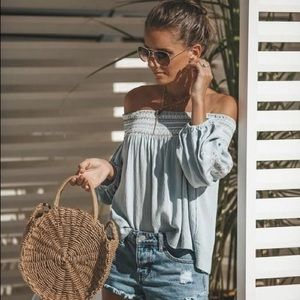 VICI Keemala Embroidered Off The Shoulder Top